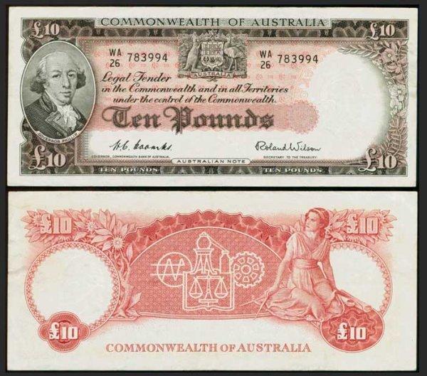 8: Australia 10 Pounds ND 1954-59 P32 GVF