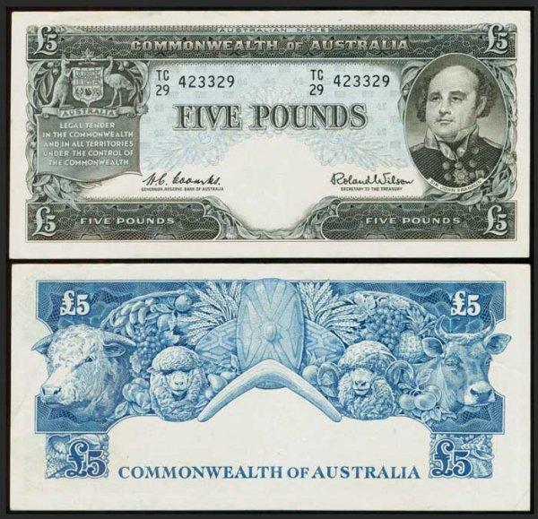 9: Australia 5 Pounds 1960-65 P35a GVF