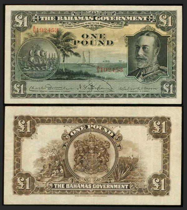 10: Bahamas Pound 1919 KGV P7 GF-AVF