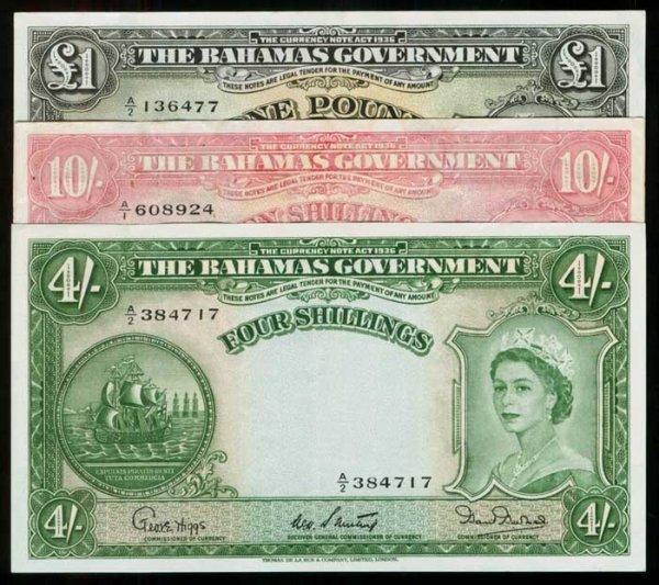 11: Bahamas 4S 10S Pound 1953 QEII  VF-GVF