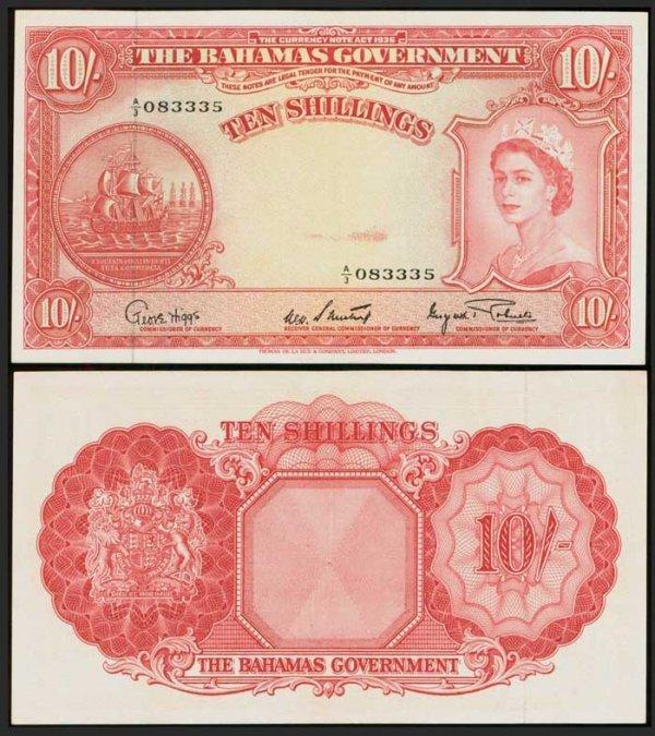 12: Bahamas 10 Shillings 1953 QEII P14d GEF