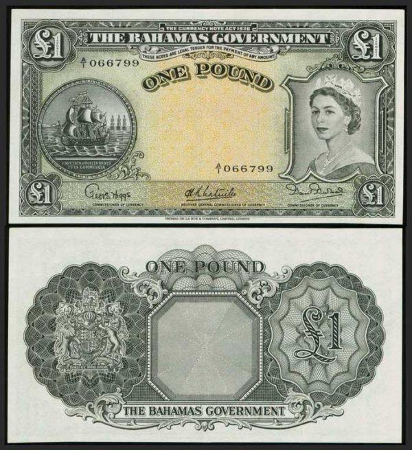 13: Bahamas Pound 1953 QEII P15a GEF