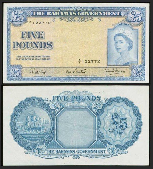 14: Bahamas 5 Pounds 1953 QEII P16b GVF