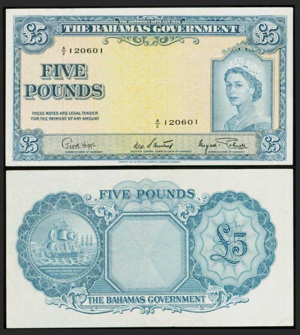 15: Bahamas 5 Pounds 1953 QEII P16d GVF