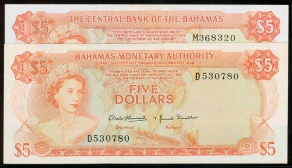 16: Bahamas $5 1968 1974 QEII P29 37b GEF-AU (2)