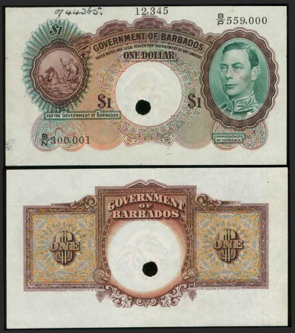 17: Barbados $1 1938-49 KGVI production spec  AU
