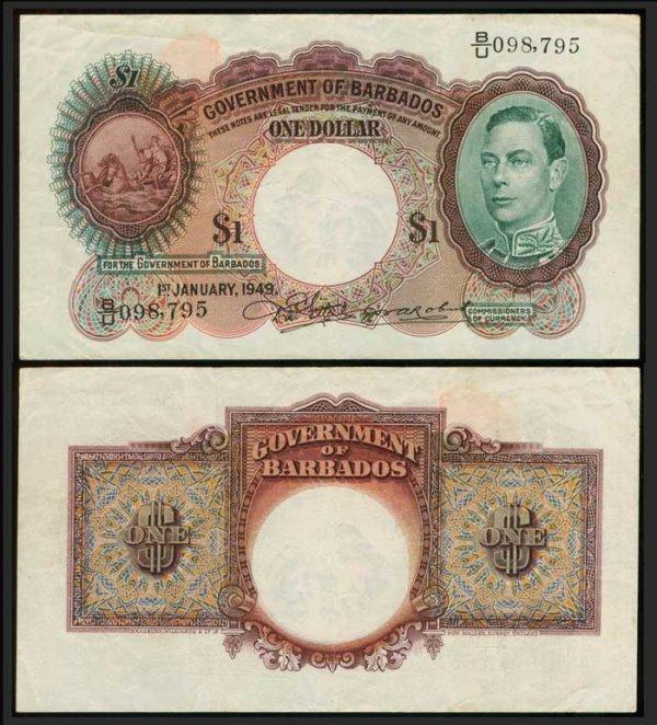 18: Barbados $1 1949 KGVI P2c AVF
