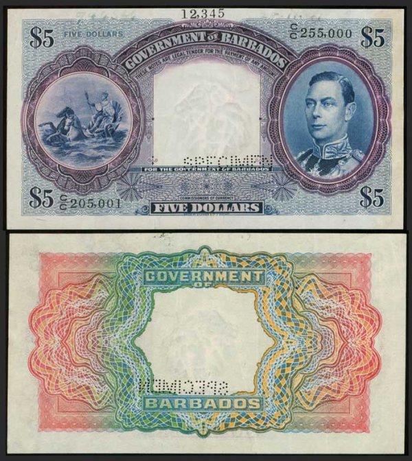 19: Barbados $5 1939-43 KGVI production spec VF