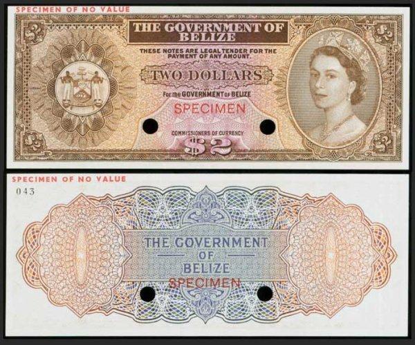 20: Belize $2 c1970s QEII colour trial P33 UNC
