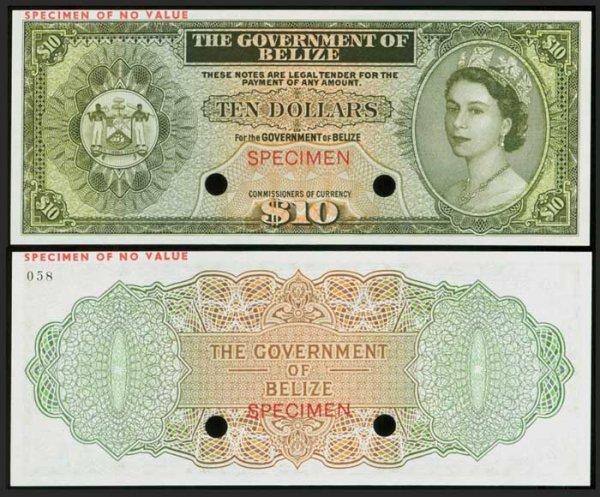 21: Belize $10 c1970s QEII colour trial P36 UNC