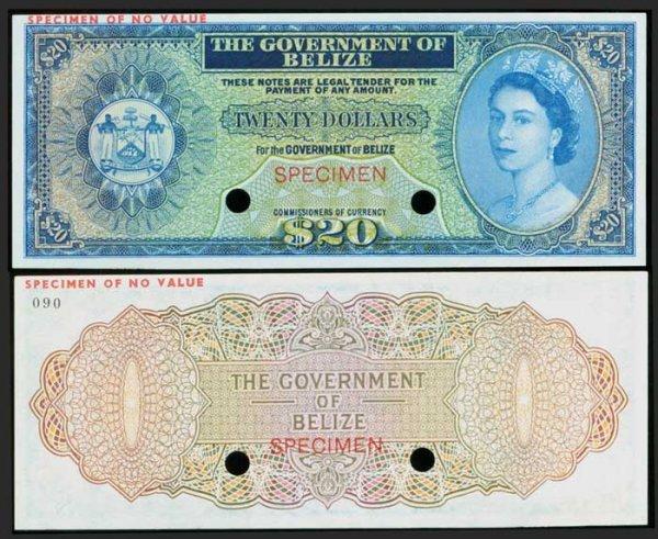 22: Belize $20 c1970s QEII colour trial  AU UNC