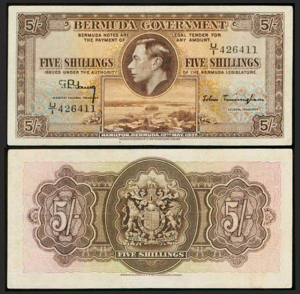 23: Bermuda 5 Shillings 12 May 1937 KGVI P8b GVF