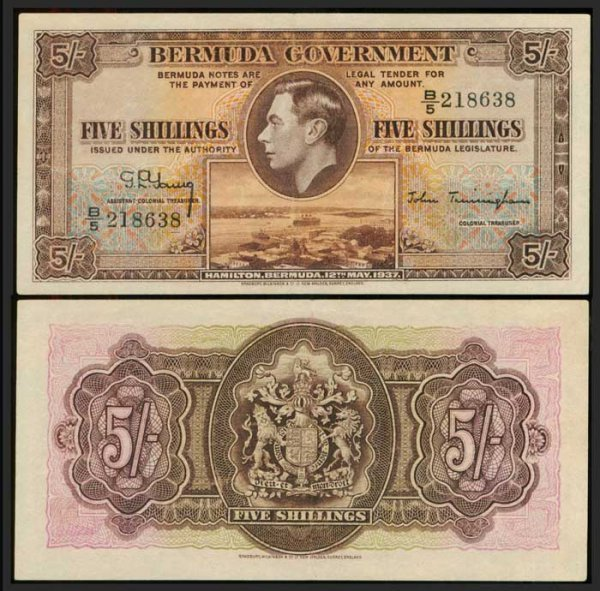 24: Bermuda 5 Shillings 12 May 1937 KGVI P8b GEF