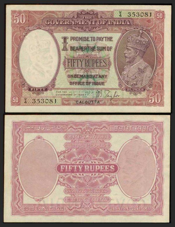 385: India 50 Rupees Calcutta ND 1930 KGV EF-GEF