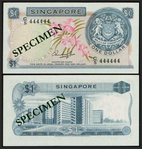 622: Singapore $1 1971 orchids HSS seal 444444