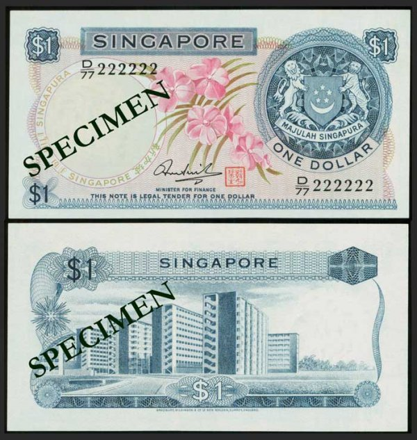 624: Singapore $1 1972 orchids HSS seal 222222