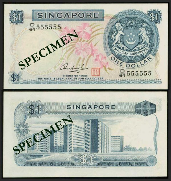 626: Singapore $1 1972 orchids HSS seal 555555
