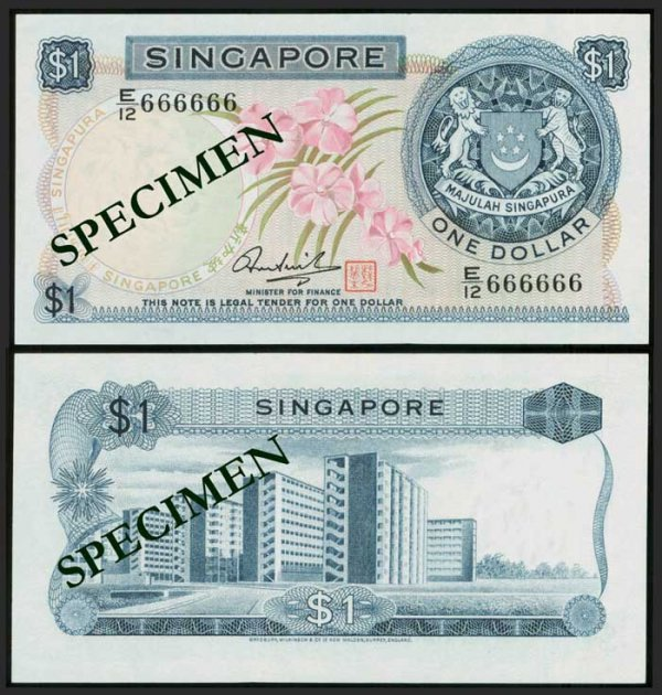 627: Singapore $1 1972 orchids HSS seal 666666