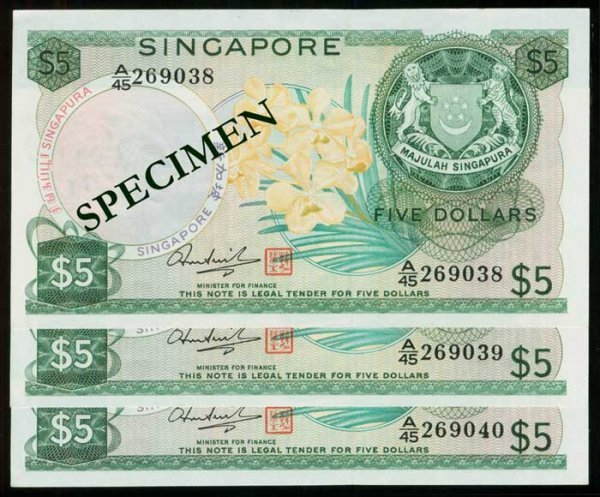 630: Singapore $5 1973 orchids HSS seal 3 consec