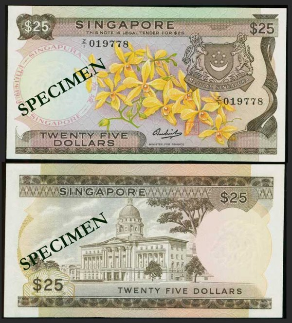 634: Singapore $25 1972 orchids replacement