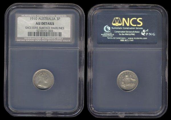 1: Australia KEVII 3 Pence 1910 NCS Details