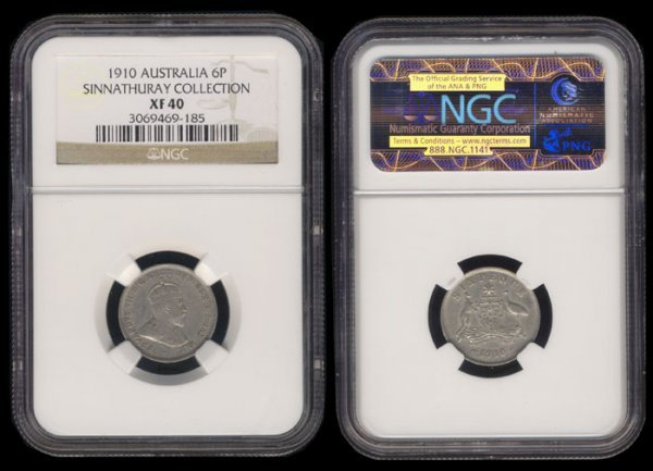 2: Australia KEVII 6 Pence 1910 NGC XF40