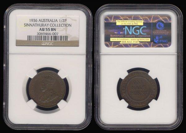 4: Australia KGV 1/2 Penny 1936 NGC AU55BN