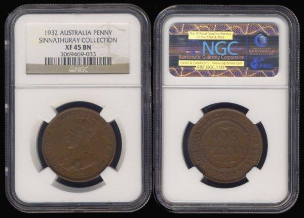 5: Australia KGV Penny 1932 NGC XF45BN