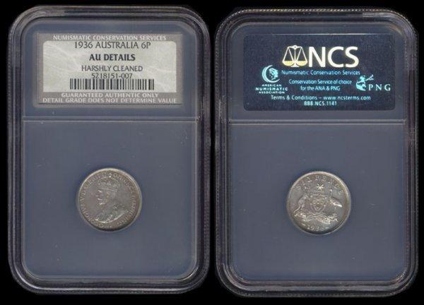 6: Australia KGV 6P 1936 NCS AU Details
