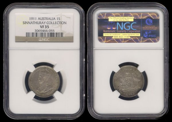 8: Australia KGV Shilling 1911 NGC VF35