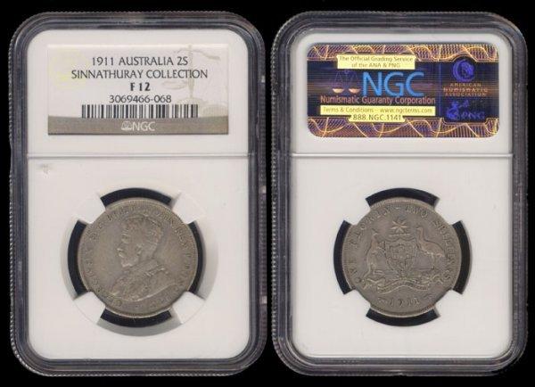 9: Australia KGV 2 Shillings 1911 NGC F12