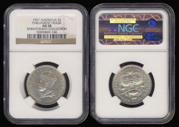 10: Australia KGV 2 Shillings 1927 NGC AU58