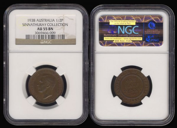 11: Australia KGVI 1/2 Penny 1938 NGC AU55BN
