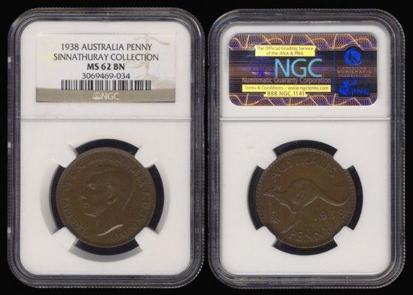 12: Australia KGVI Penny 1938 NGC MS62BN