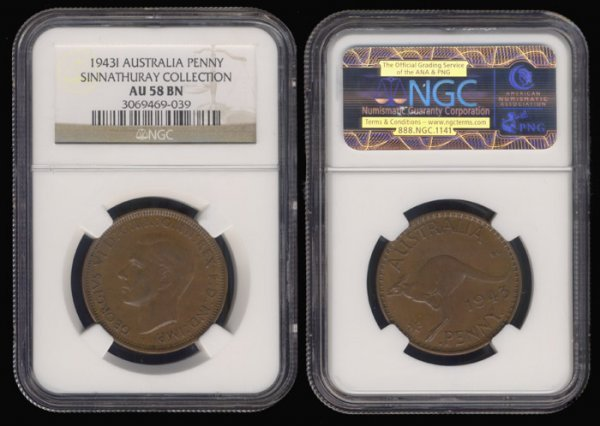 13: Australia KGVI Penny 1943I NGC AU58BN