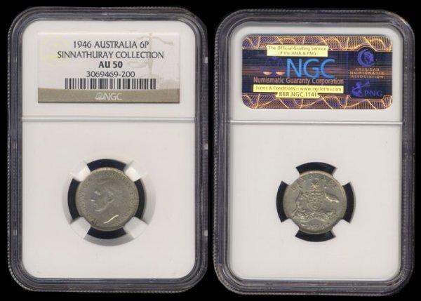 17: Australia KGVI 6 Pence 1946 NGC AU50