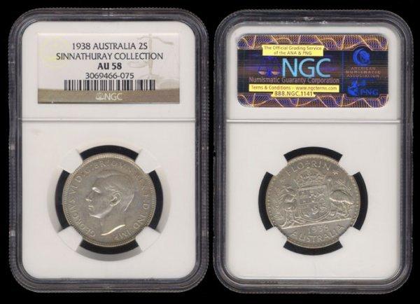 20: Australia KGVI 2 Shillings 1938 NGC AU58