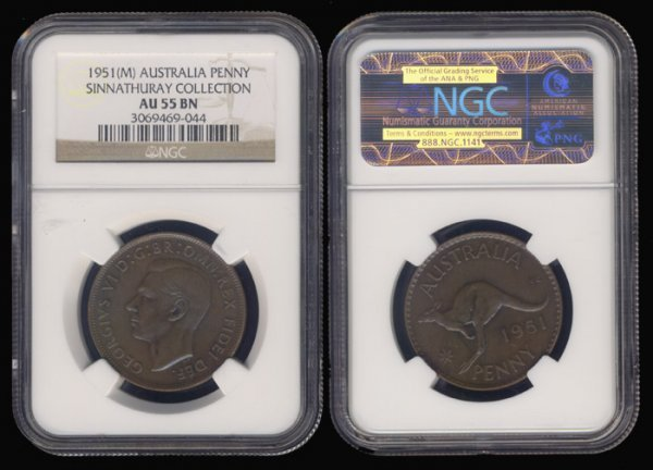 23: Australia KGVI Penny 1951M NGC AU55BN
