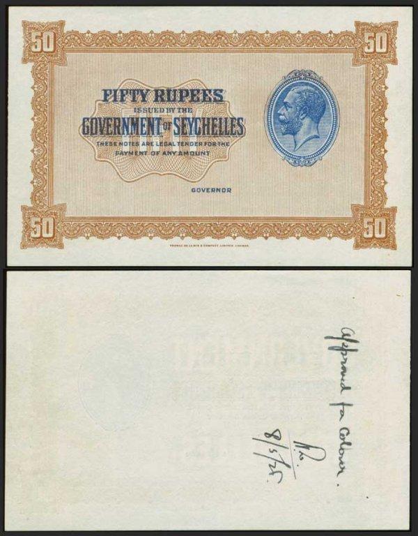 1281: Seychelles 50R KGV 1928 1936 Spec P5