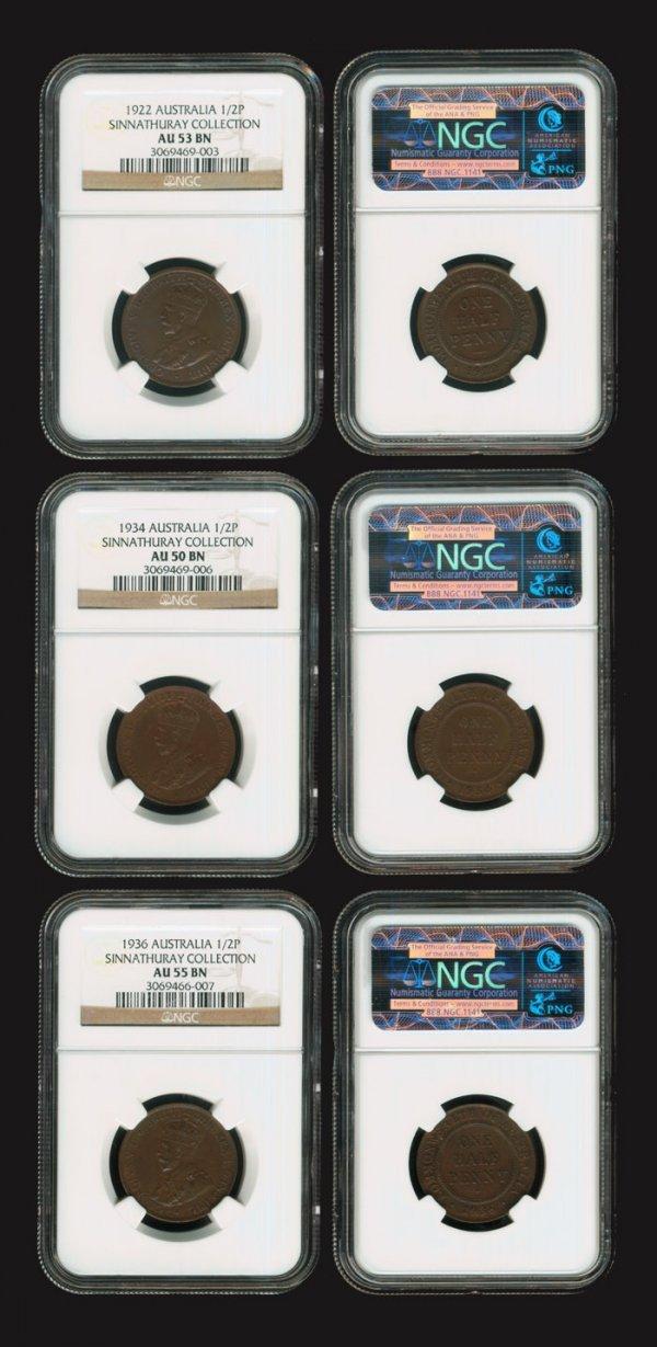 5: 3 Australia KGV 1/2d 1922-36 all NGC