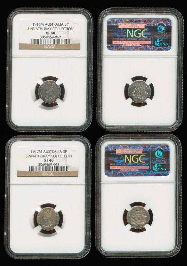 8: 2 Australia KGV 3d 1916 1917 NGC XF40