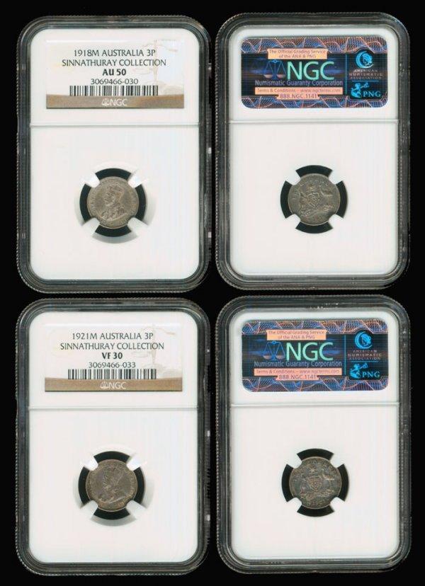 10: 2 Australia KGV 3d 1918M 1921M NGC AU50 VF30