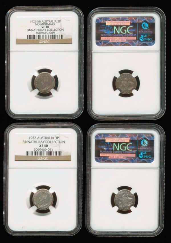 11: 2 Austalia KGV 3d 1921M 1922 NGC VF30 XF40