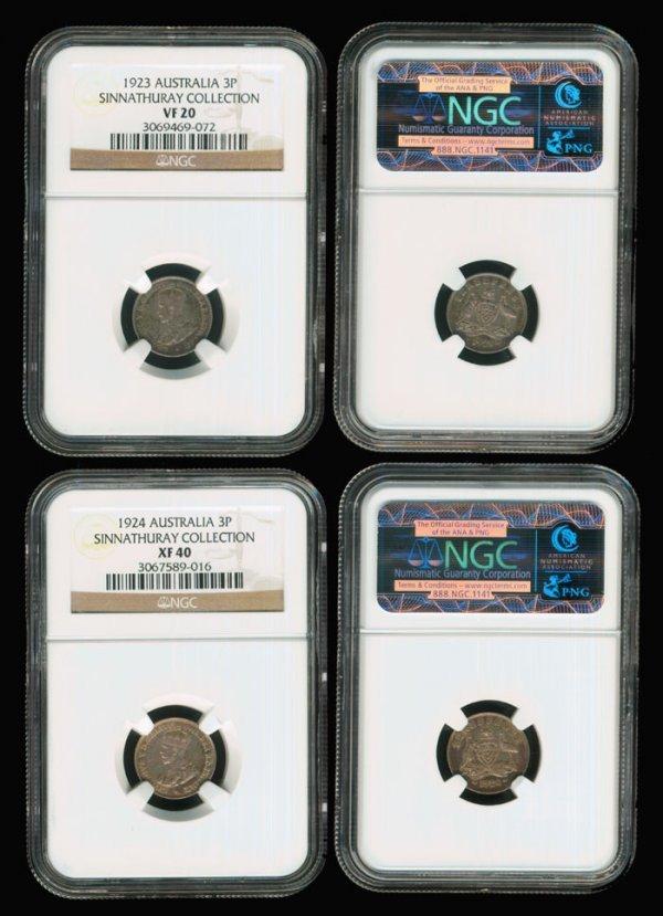 12: 2 Australia KGV 3d 1923-24 NGC VF20 XF40