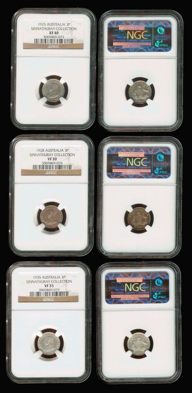 13: 3 Australia KGV 3d 1925-35 all NGC