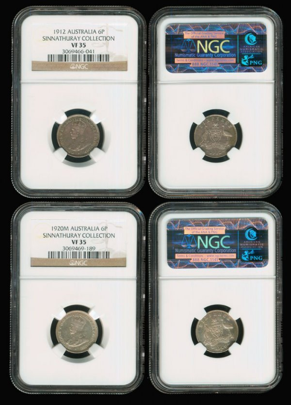 14: 2 Australia KGV 6d 1912 1920M NGC both VF35