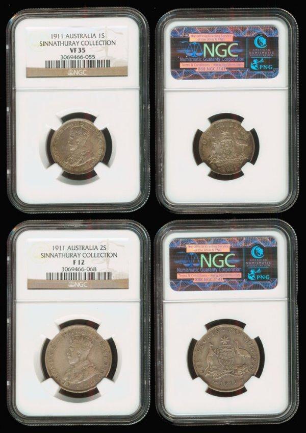16: 2 Australia KGV 1S 2S 1911 NGC VF35 F12