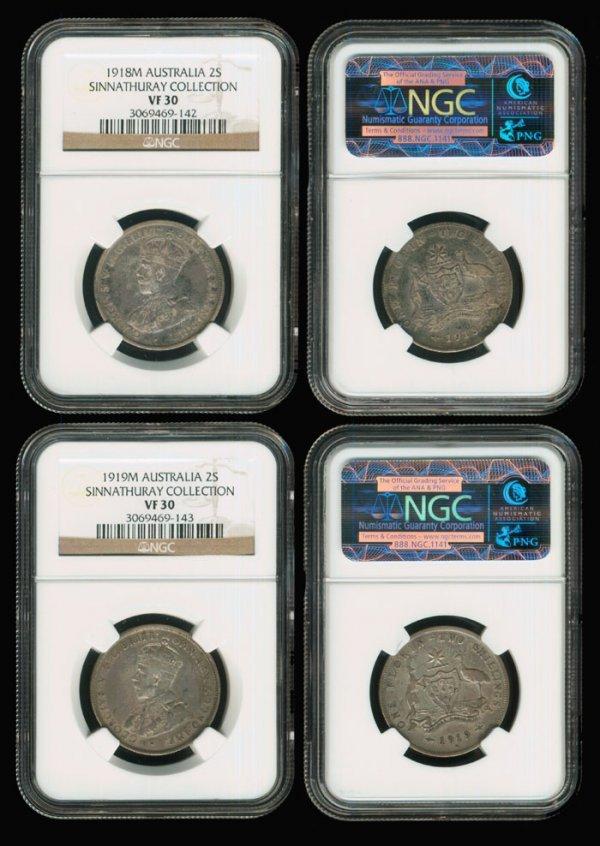 19: 2 Australia KGV 2S 1918-19 NGC VF30