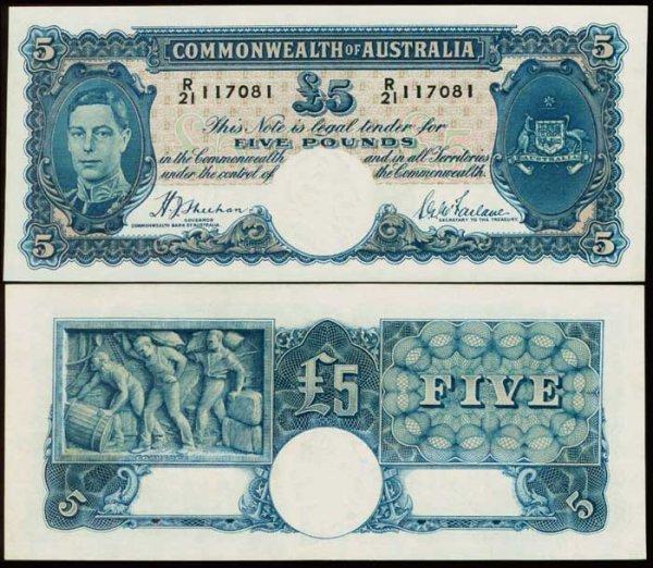 1005: Australia 5 Pounds KGVI 1939 P27a AU
