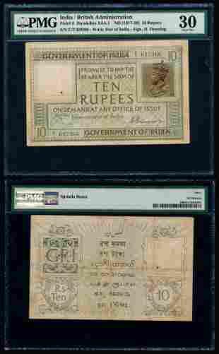 India 10 Rupees 1917-30 KGV PMG